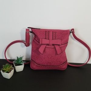 NWT Lace Front Pink Crossbody with Bow